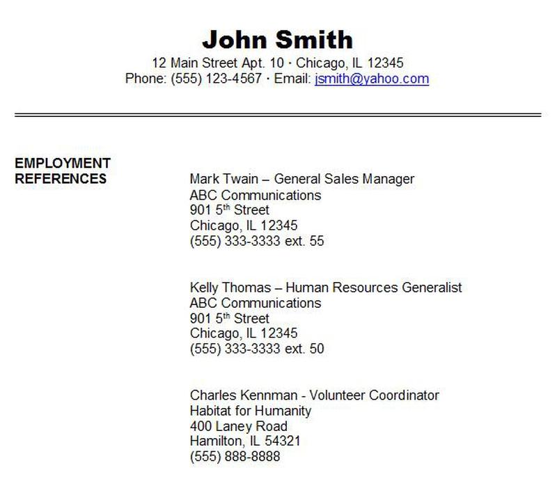 resume reference sheet