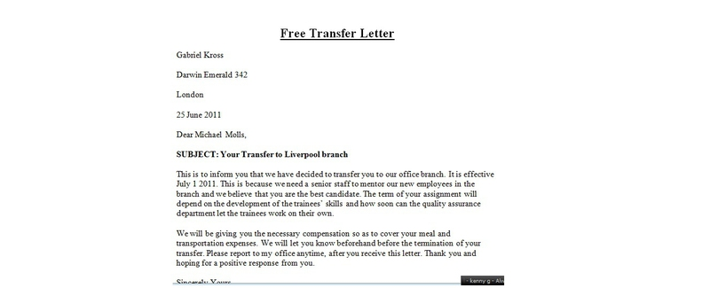 letter of transfer request