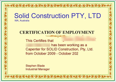 certificate of employment example